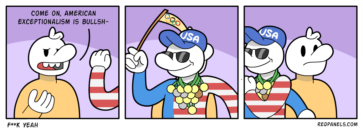 A comic about American performance in the Olympics validating American exceptionalism.