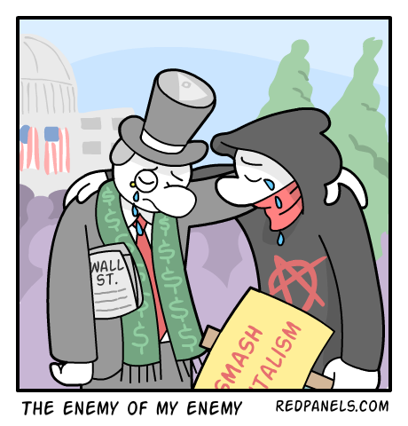A comic about antifa allying with wall street and crony capitalism.