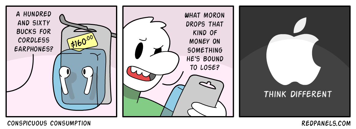 A comic about how buying Apple products is conspicuous consumption.