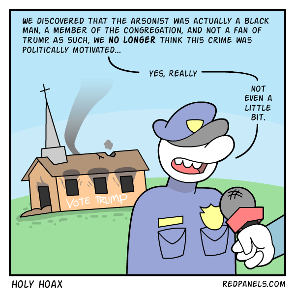 A comic about a church arson hoax.