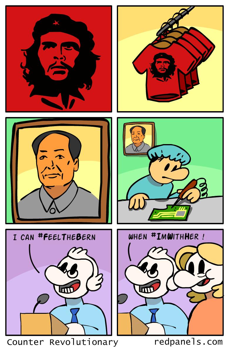 A comic about Bernie Sanders endorsing Hillary Clinton.