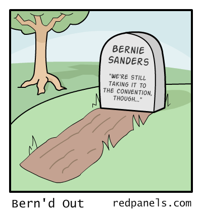 A comic illustrating the Bernie Sanders campaign as dead and buried.
