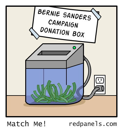 A comic comparing Bernie Sanders donors to people who put money in a paper shredder.
