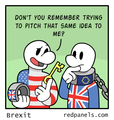 A comic comparing the Brexit to American independence.