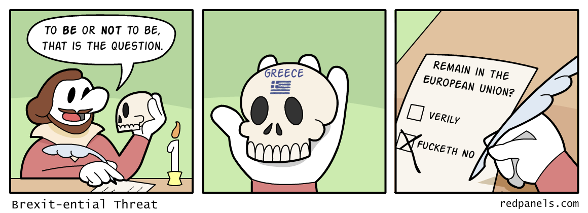 A comic about Shakespeare holding a skull while contemplating leaving the European Union with Britain.