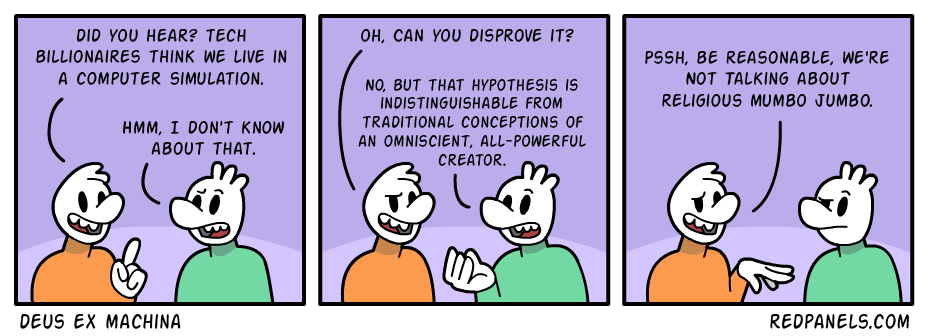A comic comparing the idea of a computer simulated universe to regular descriptions of God.