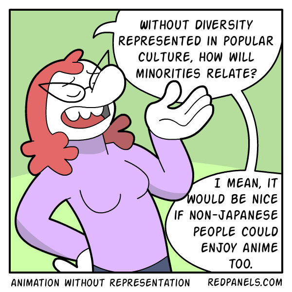 A comic about how many races of people can enjoy anime despite a lack of diversity.