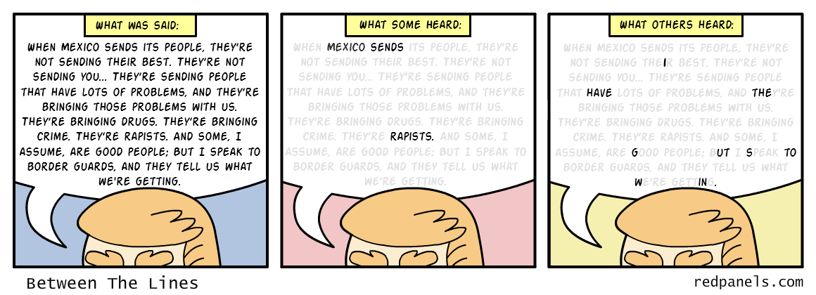 A comic observing the different responses to Donald Trump