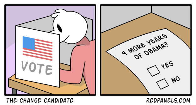 A comic suggesting Hillary Clinton as being equivalent to four more years of Obama.
