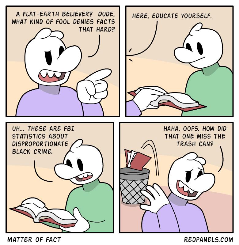 A comic about fact denial.