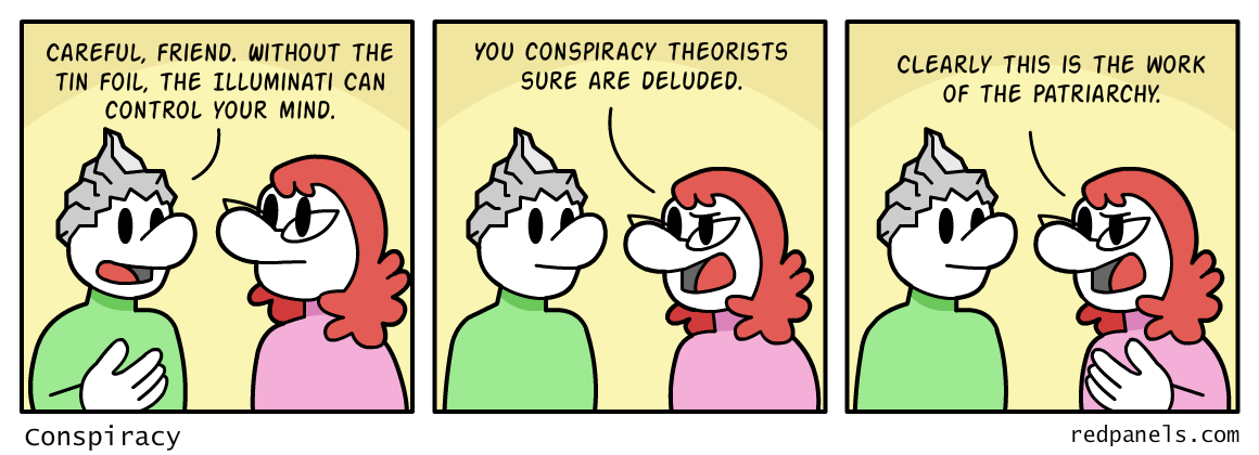 A comic feminism and conspiracy theory.