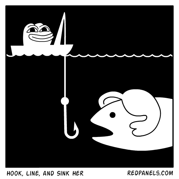 A comic about Hillary Clinton taking the meme bait from Pepe.