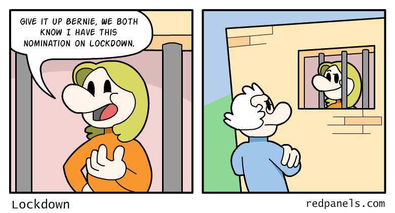 A comic where Hillary Clinton is assured of her victory despite being in prison.
