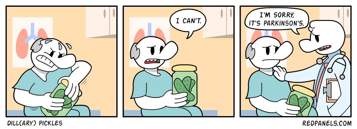 A comic about how opening jar of pickles indicates health.