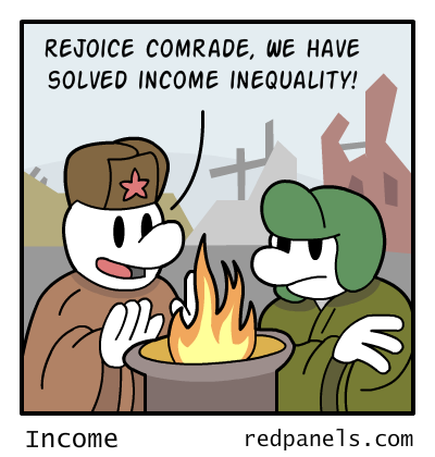 A comic where two Soviet citizens relish the abolition of income inequality despite being 