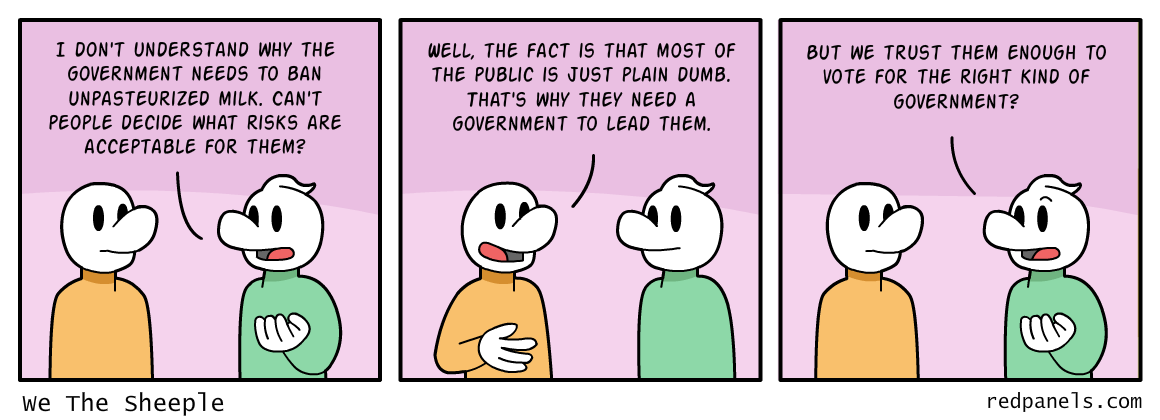 A comic where two men discuss the need for government to regulate it