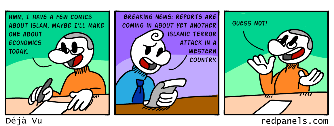A comic about the repetiveness of islamic terrorist attacks