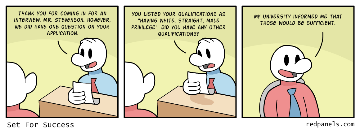 A comic about privilege and hiring.