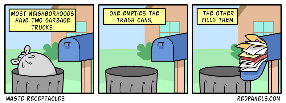 A comic comparing the postal service to garbage disposal.