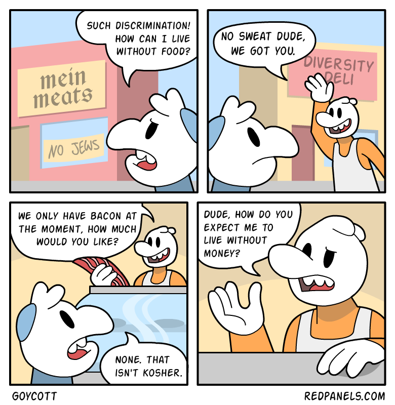 A comic about business discrimination and kosher food.