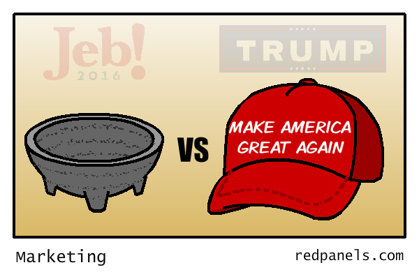 Trump versus Jeb campaign marketing comic
