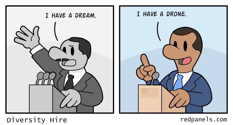 A comic about Martin Luther King and how the celebration of diversity elected black President 