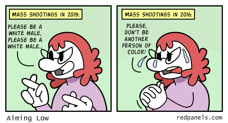 A comic about diversity in mass shootings.