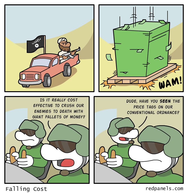 A comic about an Isis fighter being crushed by a giant pallet of money that represents wasteful 
