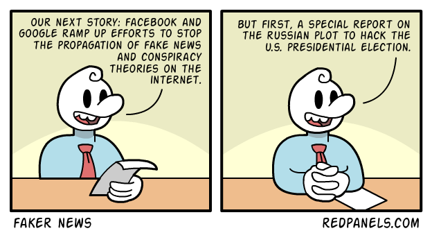 A comic about fake news and conspiracy theories.