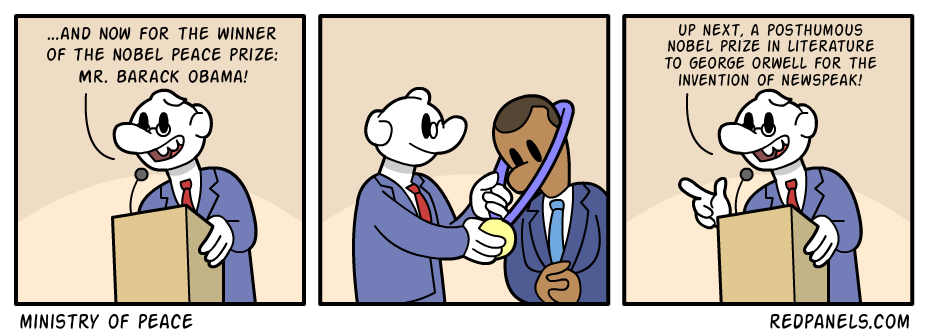 A comic about Barack Obama receiving the Nobel Peace Prize.