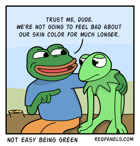 A comic about ethnic pride, Pepe, and Kermit the frog.