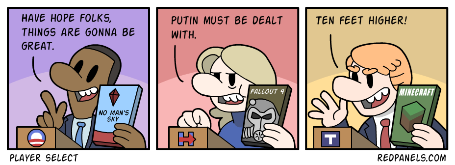 A comic comparing current and former presidential candidates to video games.