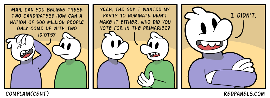 A comic about the rediculousness of complaining about presidential candidates if you didn