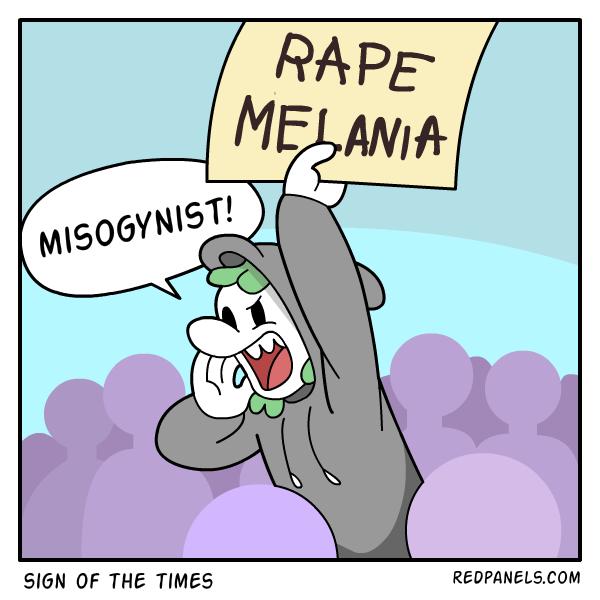 A comic about the rape Melania sign.