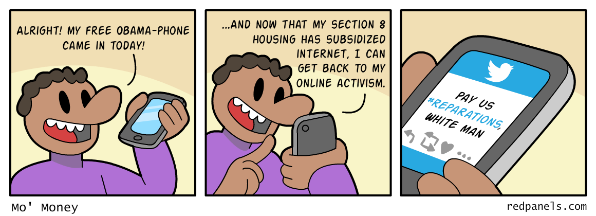A comic connecting welfare and reparations.