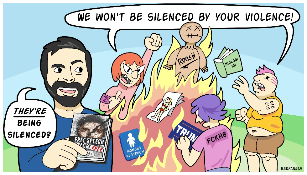 A commissioned work from Roosh V to involving feminists silencing free speech.