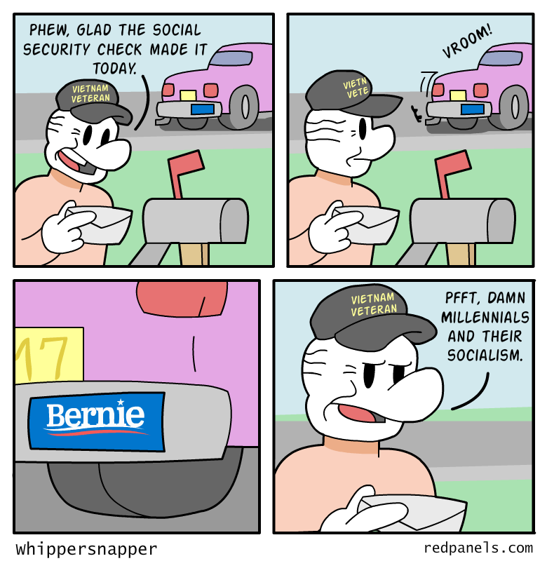 A comic where a man recieves a social security check and complains about the socialism of 