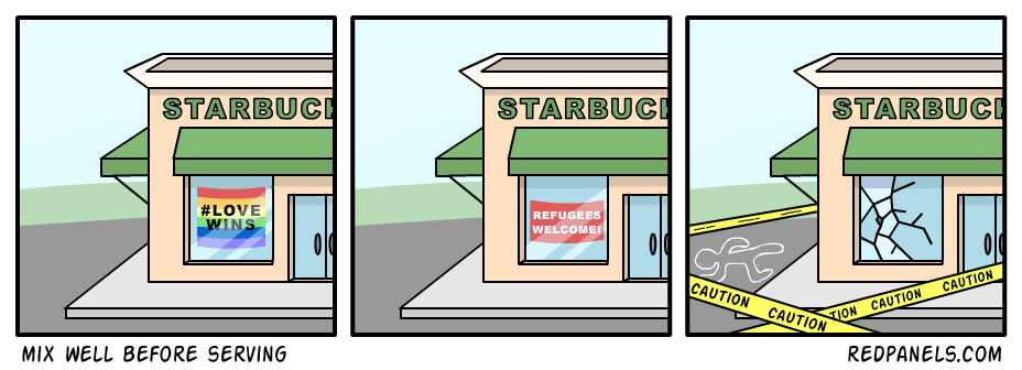 A comic about Starbucks hiring refugees.