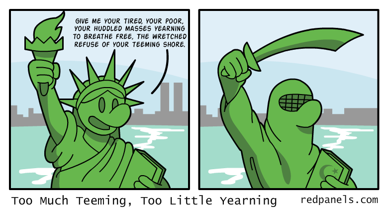 A comic where the Statue of Liberty wears a burka.