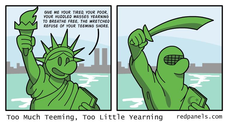 A comic where the Statue of Liberty wears a burka.