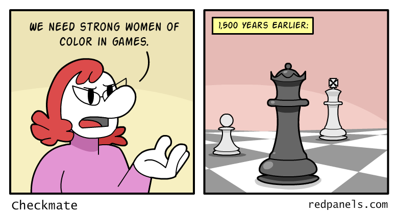 A comic illustrating that strong women of color in gaming have been around since chess.