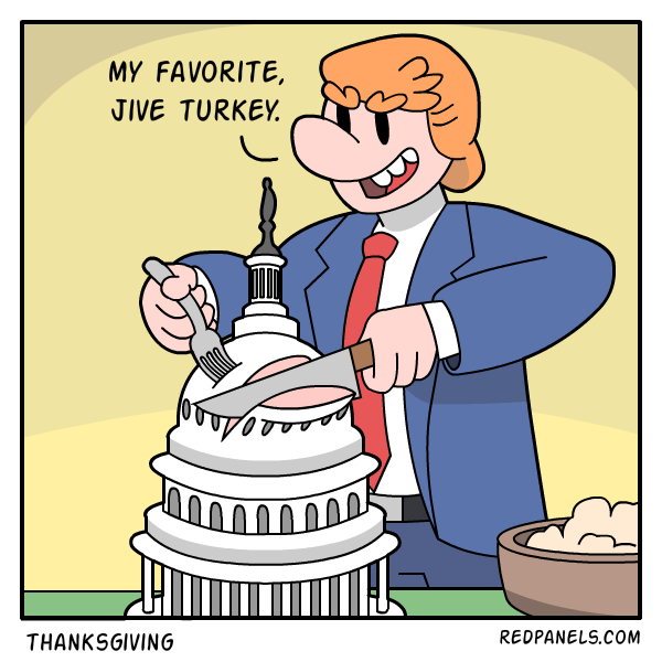A comic about Donald Trump and Thanksgiving.