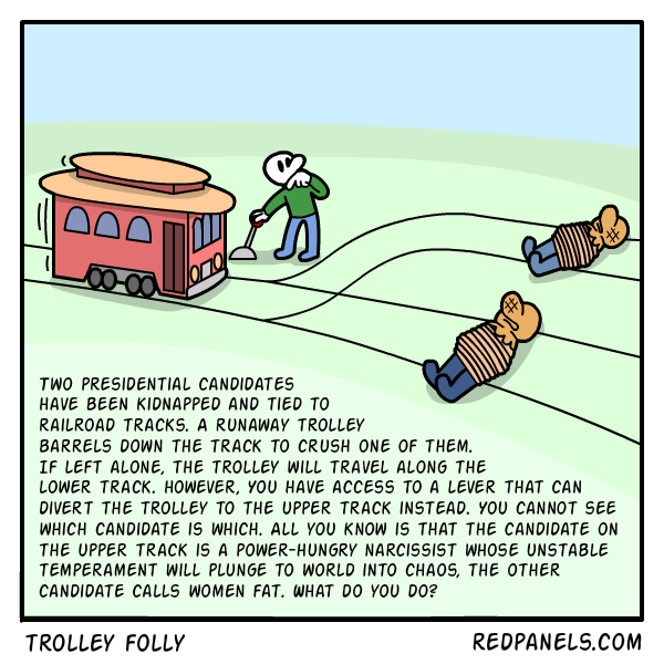 A comic applying the philosophical trolley problem to the US election
