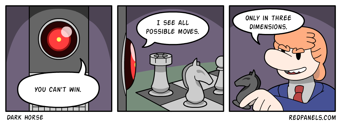 A comic about Donald Trump playing multi-dimensional chess.