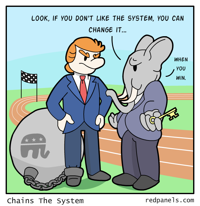 System rigged against Donald Trump comic